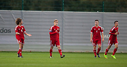 NEWPORT, WALES - Thursday, September 25, 2014: Wales' Ethan Ampadu, captain Matty Smith and Liam Angel look dejected as France score the opening goal during the Under-16's International Friendly match at Dragon Park. (Pic by David Rawcliffe/Propaganda)