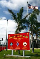 Apr 01, 2003; Oceanside, CA, USA; (FILE PHOTO) Welcome sign @ entrance to Marine Corps Base CAMP PENDLETON. The wife of U.S. Marine sergeant Stephen Tepatti, who is based at Camp Pendleton, Calif., hired a hit man to stab him in the neck. Then she tried to poison him. Finally, she shot at him from point-blank range. But he survived and now his wife, Astrid, faces jail for the botched attempts to kill her husband so she and her lesbian lover could share his $500,000 life insurance policy. Mandatory Credit: Photo by Shelly Castellano/ZUMA Press. (©) Copyright 2003 by Shelly Castellano