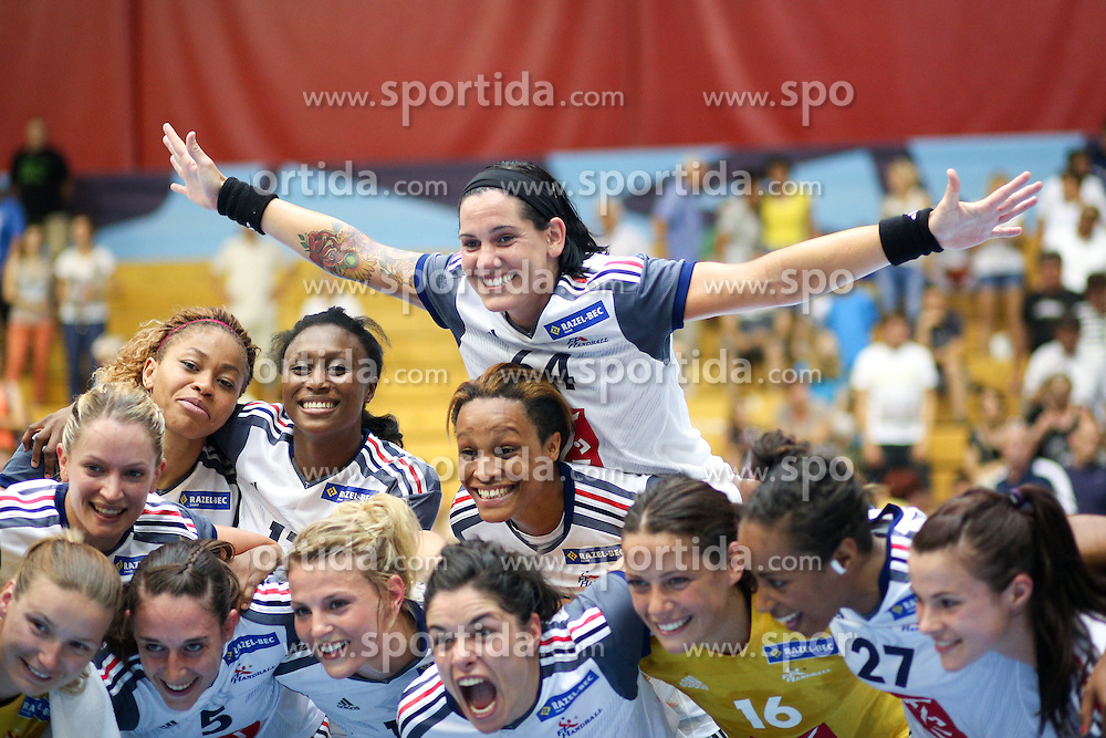 Players of France celebrate during handball match between National Teams of Slovenia and France in Qualification of 2015 Women's European Championship, on June 13th, in Rdeca Dvorana, Velenje. Photo by Morgan Kristan / Sportida