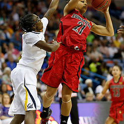 April 7, 2013; New Orleans, LA, USA; Louisville Cardinals guard Bria Smith (21) passes against California Golden Bears guard Eliza Pierre (left) during the second half in the semifinals during the 2013 NCAA womens Final Four at the New Orleans Arena. Mandatory Credit: Derick E. Hingle-USA TODAY Sports