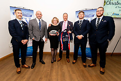 Nic White, David Flatman, the auction winners of the Help for Heroes shirt and ball with Alec Hepburn and Harry Williams at the annual Exeter Chiefs Foundation Christmas Dinner at Sandy Park - Ryan Hiscott/JMP - 07/12/2018 - RUGBY - Sandy Park - Exeter, England - Exeter Chiefs Foundation Christmas Dinner with David Flatman
