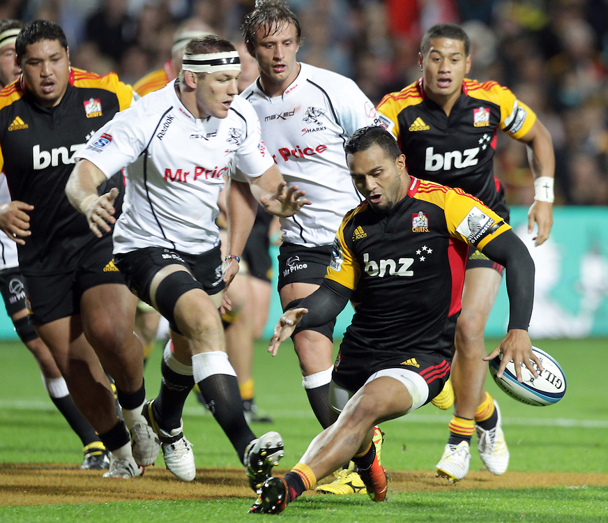 Chiefs' Liam Messam loses the ball whilst playing the Sharks in a Super Rugby match, Waikato Stadium, Hamilton, New Zealand, Saturday, April 27, 2013.  Credit:SNPA / David Rowland