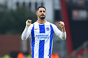 Beram Kayal (7) of Brighton and Hove Albion celebrates in front of the travelling fans at full time after a 3-1 win over Bournemouth during the The FA Cup 3rd round match between Bournemouth and Brighton and Hove Albion at the Vitality Stadium, Bournemouth, England on 5 January 2019.