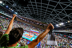 Fans and view of arena during national anthem before volleyball match between National teams of Slovenia and Poland in semifinal of 2019 CEV Volleyball Men's European Championship in Ljubljana, on September 26, 2019 in Arena Stozice. Ljubljana, Slovenia. Photo by Matic Klansek Velej / Sportida