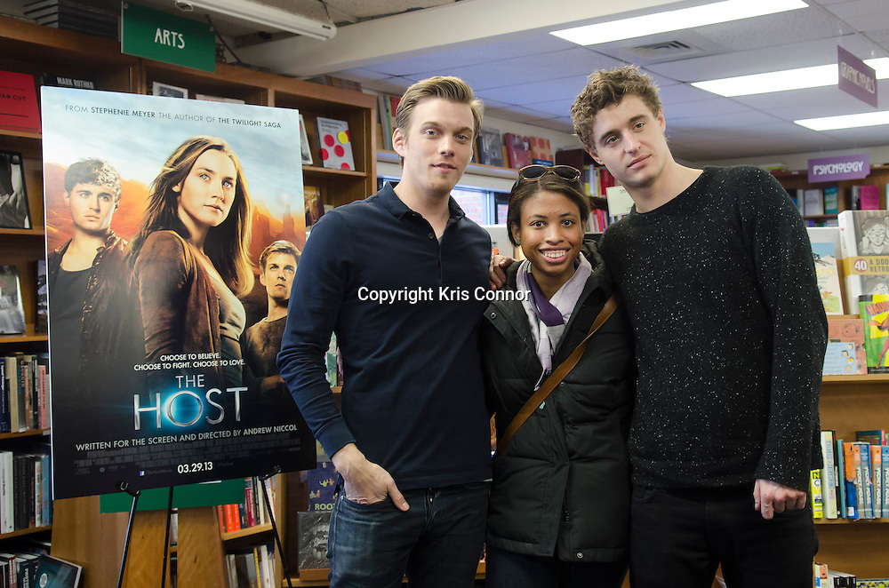 "Actors Jake Abel and Max Irons attend a booking signing for their upcoming movie ""The Host"" at Politics and Pros Bookstore in Washington DC on February 21, 2013. Photo by Kris Connor/Allied-THA"