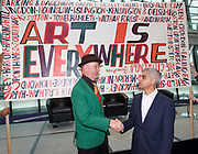 Sadiq Khan, Mayor launches a search for the first ever London Borough of Culture at a ceremony at City Hall, London, Great Britain <br /> 30th June 2017 <br /> <br /> <br /> Sadiq Khan, Mayor London <br /> shakes hands with <br /> Bob and Roberta Smith <br /> (this is one person who has two names)<br /> <br /> <br /> The launch moment was marked by the unfurling of a 4 metre long artwork/banner painted by artist Bob and Roberta Smith especially for the launch.<br /> <br /> <br /> Photograph by Elliott Franks <br /> Image licensed to Elliott Franks Photography Services