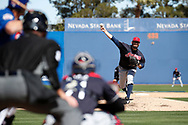 March 18, 2018 - Las Vegas, NV, U.S. - LAS VEGAS, NV - MARCH 18: Stephen Fife (69) of the Indians delivers a pitch during a game between the Chicago Cubs and Cleveland Indians as part of Big League Weekend on March 18, 2018 at Cashman Field in Las Vegas, Nevada. (Photo by Jeff Speer/Icon Sportswire) (Credit Image: © Jeff Speer/Icon SMI via ZUMA Press)
