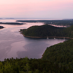 Dawn over Somes Sound on Mount Desert Island in Maine's Acadia National Park.