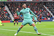 Goal - Sead Kolasinac (31) of Arsenal celebrates after Pierre-Emerick Aubameyang (14) of Arsenal scored a goal to make the score 1-2 during the Premier League match between Bournemouth and Arsenal at the Vitality Stadium, Bournemouth, England on 25 November 2018.