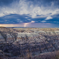 lightning hitting the prairie, badlands and lightning storm, monana conservation photography - montana wild prairie