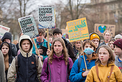 © Licensed to London News Pictures. 14/02/2020. Bristol, UK. Youth Strike 4 Climate outside Bristol City Hall on College Green followed by a march through the city centre. This is the first youth climate strike of 2020, and it is the anniversary strike on Valentines day. Photo credit: Simon Chapman/LNP.