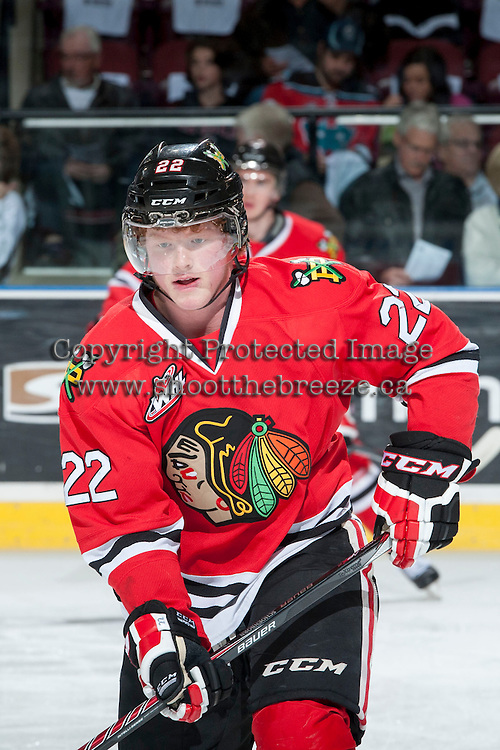KELOWNA, CANADA - APRIL 18: Alex Schoenborn #22 of the Portland Winterhawks skates during warm up against the Kelowna Rockets on April 18, 2014 during Game 1 of the third round of WHL Playoffs at Prospera Place in Kelowna, British Columbia, Canada.   (Photo by Marissa Baecker/Shoot the Breeze)  *** Local Caption *** Alex Schoenborn;