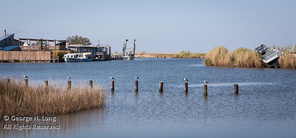 Fishing along Salt Bayou Road in Slidell, Louisiana