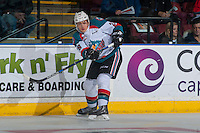KELOWNA, CANADA - JANUARY 7: Leif Mattson #28 of the Kelowna Rockets passes the puck against the Kamloops Blazers on January 7, 2017 at Prospera Place in Kelowna, British Columbia, Canada.  (Photo by Marissa Baecker/Shoot the Breeze)  *** Local Caption ***