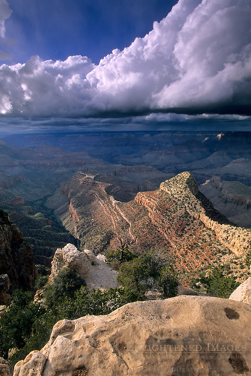 Sunlight and storm clouds over the Grand Canyon, from Grandview Point, Grand Canyon National Park, Arizona