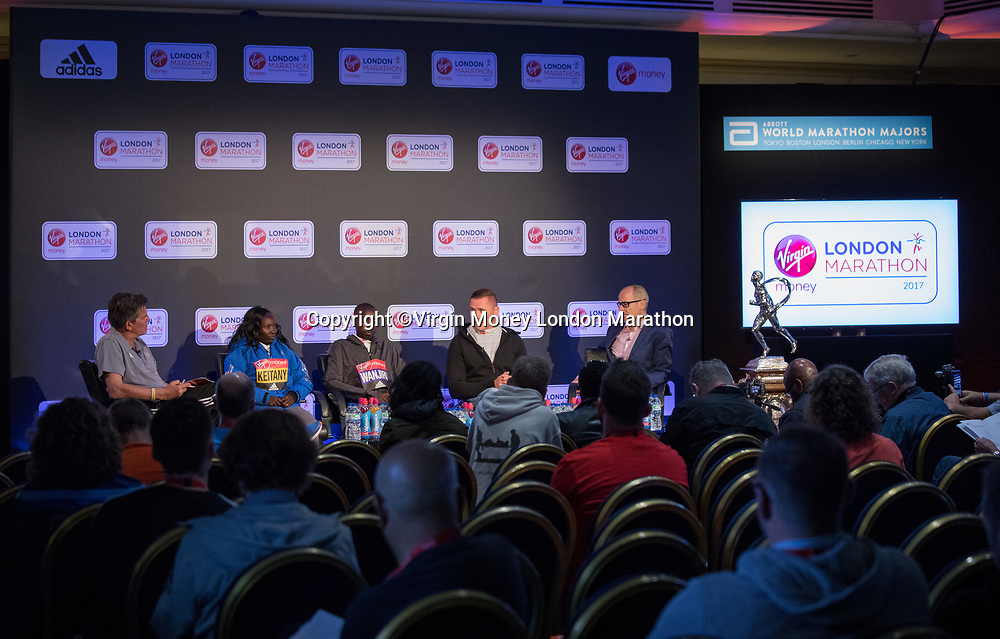 The final press conference with Tim Hutchings featuring Elite Women&rsquo;s Race winner Mary Keitany KEN, Elite Men&rsquo;s Race winner Daniel Wanjiru KEN,&nbsp;Elite Men's Wheelchair race winner David&nbsp;Weir GBR and London Marathon Race Director Hugh Brasher&nbsp;at the Guoman Tower Hotel on the morning after the race. The Virgin Money London Marathon, 24th April 2017.<br /> <br /> Photo: Neil Turner for Virgin Money London Marathon<br /> <br /> For further information: media@londonmarathonevents.co.uk