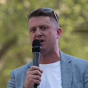 Tommy Robinson  speaks a demonstration for a 'Day of Freedom' of speaks rally at the Whitehall on 6 May 2018, London, UK.