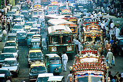 Pakistan, Karachi, 2004. Traffic nightmares in Karachi, Pakistan?s commercial capital, main port, and busiest city.