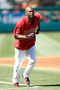 ANAHEIM, CA - JULY 28:  Torii Hunter #48 of the Los Angeles Angels of Anaheim runs the bases during batting practice before the game against the Tampa Bay Rays on Saturday, July 28, 2012 at Angel Stadium in Anaheim, California. The Rays won the game in a 3-0 shutout. (Photo by Paul Spinelli/MLB Photos via Getty Images) *** Local Caption *** Torii Hunter