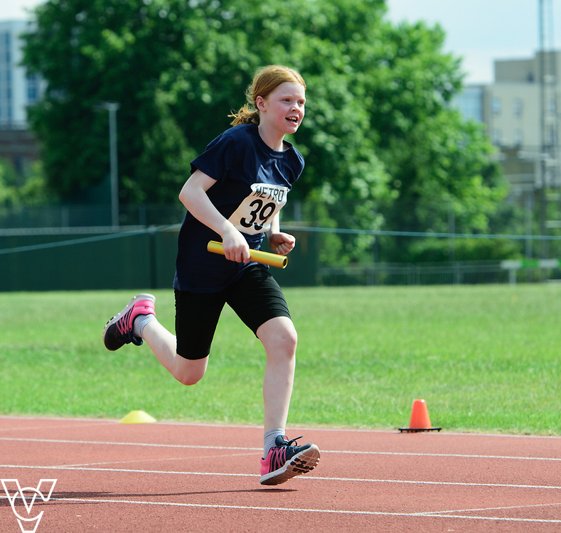 Metro Blind Sport's 2017 Athletics Open held at Mile End Stadium.  4x100m relay.  Chelsea Hudson<br /> <br /> Picture: Chris Vaughan Photography for Metro Blind Sport<br /> Date: June 17, 2017
