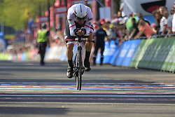 Giacomo Nizzolo (ITA) Trek-Segafredo crosses the finish line of Stage 1 of the 2016 Giro d'Italia, an individual time trial of 9.8km around Apeldoorn, The Nethrerlands. 6th May 2016.<br /> Picture: Eoin Clarke | Newsfile<br /> <br /> <br /> All photos usage must carry mandatory copyright credit (© Newsfile | Eoin Clarke)