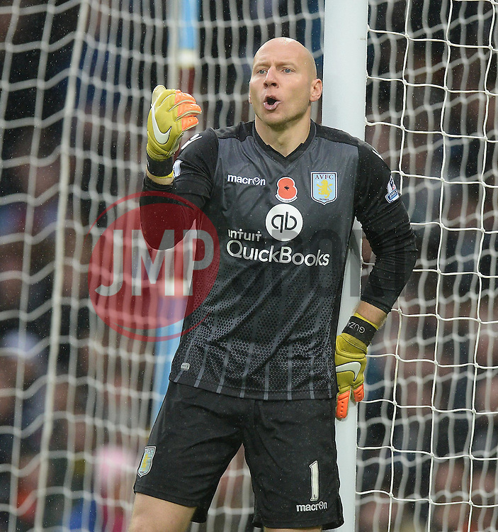 Brad Guzan of Aston Villa - Mandatory byline: Alex James/JMP - 07966 386802 - 08/11/2015 - FOOTBALL - Villa Park - Birmingham, England - Aston Villa v Manchester City - Barclays Premier League