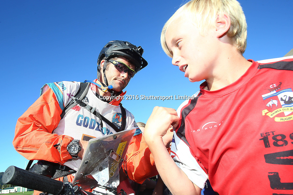 NELSON, NEW ZEALAND - April 4: GODZone C5 Adventure Race Day 4 Richie McCaw from team Cure Kids signs autographs in Murchison on April 4 2016 in Nelson, New Zealand. (Photo by: Evan Barnes Shuttersport Limited)