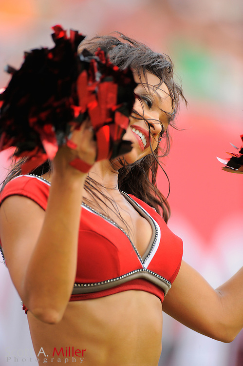 A Tampa Bay Buccaneers cheerleader performs during the Bucs game against the Atlanta Falcons at Raymond James Stadium on Sept. 25, 2011 in Tampa, FL...©2011 Scott A. Miller