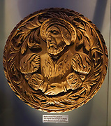 James V carved replica, one of 37 Stirling Heads, in Stirling Castle, Scotland, UK, Europe. James V (1512-1542) was King of Scotland from 1513 until his death, which followed the Scottish defeat at the Battle of Solway Moss. His only surviving legitimate child, Mary I, succeeded him when she was just six days old.<br /> The King's Inner Hall at Stirling Castle has a ceiling of 37 carved replica Stirling Heads, originally designed for James V and finished by his widow Mary of Guise in the 1540s. Once the capital of Scotland, Stirling controlled a strategic position (until the 1890s) as the lowest bridging point of the River Forth before it broadens towards the Firth of Forth, making it the gateway to the Scottish Highlands. One of the principal royal strongholds of the Kingdom of Scotland, Stirling was created a royal burgh by King David I in 1130. Before the union with England, Stirling Castle was also one of the most used of the many Scottish royal residences, serving as both a palace and a fortress. Several Scottish Kings and Queens have been crowned at Stirling, including Mary, Queen of Scots in 1542, and others were born or died there. Stirling Castle has suffered at least eight sieges, including several during the Wars of Scottish Independence, with the last being in 1746, when Bonnie Prince Charlie unsuccessfully tried to take the castle.