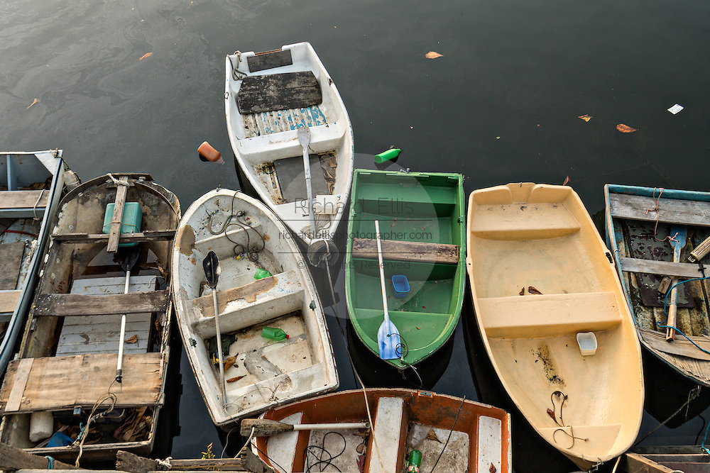Small rowboats along the boat basin in Guanabara Bay at the Urca neighborhood in Rio de Janeiro, Brazil.