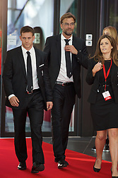 LIVERPOOL, ENGLAND - Thursday, May 12, 2016: Liverpool's manager Jürgen Klopp and the team's bodyguard arrive on the red carpet for the Liverpool FC Players' Awards Dinner 2016 at the Liverpool Arena. (Pic by David Rawcliffe/Propaganda)