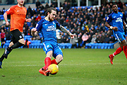 Peterborough United striker Jack Marriott (14) gets in an early second half shot during the EFL Sky Bet League 1 match between Peterborough United and Southend United at London Road, Peterborough, England on 3 February 2018. Picture by Nigel Cole.