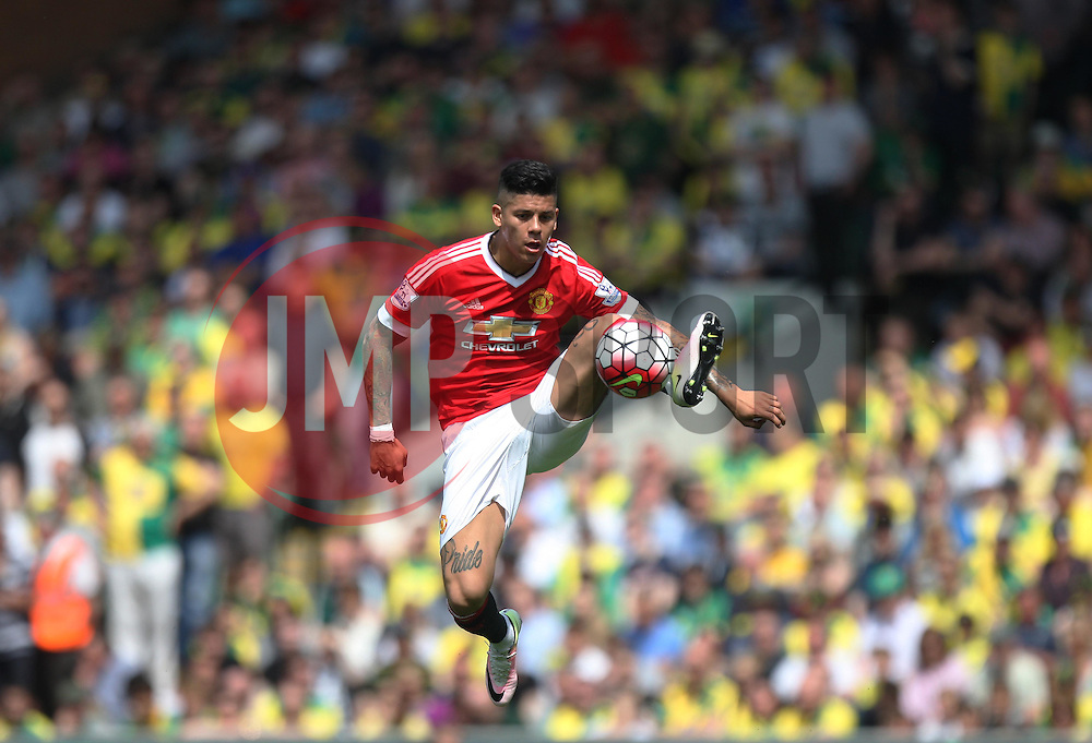 Marcos Rojo of Manchester United in action - Mandatory by-line: Jack Phillips/JMP - 07/05/2016 - FOOTBALL - Carrow Road - Norwich, England - Norwich City v Manchester United - Barclays Premier League