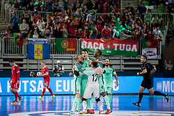 Players of Portugal celebrate goal during futsal semifinal match between National teams of Russia and Portugal at Day 9 of UEFA Futsal EURO 2018, on February 8, 2018 in Arena Stozice, Ljubljana, Slovenia. Photo by Urban Urbanc / Sportida
