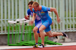 Ziga Zepic and Matic Osovnikar (C) during men 100 m at Slovenian National Championships in athletics 2010, on July 17, 2010 in Velenje, Slovenia. (Photo by Vid Ponikvar / Sportida)