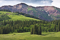 Rustler Gulch and the Elk Mountains as seen from along Gothic Road, Colorado.