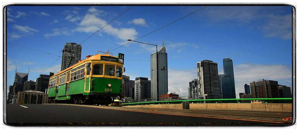 Tram: 980528: Pic by Cathryn Tremain: Pic shows the No.8 tram in Domain Rd. melbourne photographers, commercial photographers, industrial photographers, corporate photographer, architectural photographers, This photograph can be used for non commercial uses with attribution. Credit: Craig Sillitoe Photography / http://www.csillitoe.com<br />