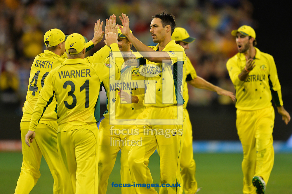 Mitchell Starc of Australia celebrates the wicket of Chris Broad with team mates during the 2015 ICC Cricket World Cup match at Melbourne Cricket Ground, Melbourne<br /> Picture by Frank Khamees/Focus Images Ltd +61 431 119 134<br /> 14/02/2015