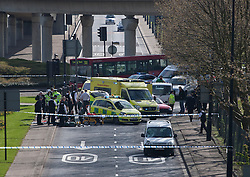 © licensed to London News Pictures. London, UK 11/04/2012. Royal Albert Way in east London closed after a road accident. London City Airport announced passengers may experience delays due to this road accident. Photo credit: Tolga Akmen/LNP