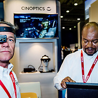 Nederland, Rotterdam, 16 mei 2017.<br /> Cinoptics uit maastricht presenteert de Smart-Eye <br /> Cinoptics uit Maastricht staat op de militaire beurs Itec in Ahoy Rotterdam.Het bedrijf heeft slimme kijker ontwikkeld die in een seconden vele tientallen gezichten kan herkennen.Ideaal voor politie rondom terreurdreiging, voetbalhooligans etc. Ze staan op stand 9 op de beurs.<br /> Op de foto: Jaap Heukelom (l) en collega<br /> <br /> Foto: Jean-Pierre Jans<br /> <br /> The Netherlands, Rotterdam, May 16, 2017.<br /> Cinoptics from Maastricht presents the Smart-Eye. Cinoptics from Maastricht is on the military exhibition Itec in Ahoy Rotterdam. The company has developed a clever viewer that can recognize many dozens of faces in seconds. Primary for police around terror threat, soccer hooligans etc. They are on stand 9 at the fair.<br /> In the picture: Jaap Heukelom (l) and colleague<br /> <br /> Photo: Jean-Pierre Jans