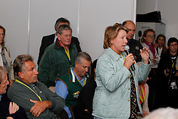 Henri and Katy Prudent Monahan<br /> Pressconference concerning disqualification of McLain Ward's horse Sapphire due to a positive Hypersensitivity test after the second competion of the Rolex FEI World Cup Final - Geneve 2010<br /> also in this picture Jan Tops, Michael Withaker<br /> © Dirk Caremans