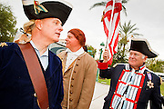 22 OCTOBER 2010 - PHOENIX, AZ:  MITCH MARKOVIC, as a Continental Army drummer, left, Dr. LANCE HURLEY, as Patrick Henry, and JOHN ROSADO, as a Continental Army soldier at a Tea Party Rally in Phoenix Friday. About 300 people attended a Tea Party rally on the lawn of the Arizona State Capitol in Phoenix Friday. They demanded lower taxes, less government spending, repeal of the health care reform bill, and strengthening of the US side of the US - Mexican border. They listened to Arizona politicians and applauded wildly when former Alaska Governor Sarah Palin and her son, Trig, made a surprise appearance. The event was a part of the Tea Party Express bus tour that is crossing the United States.     Photo by Jack Kurtz