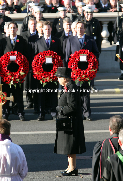 The Queen lays her wreath at the Remembrance Sunday service held at The Cenotaph in London, Sunday, 13th November 2011. Photo by: Stephen Lock / i-Images