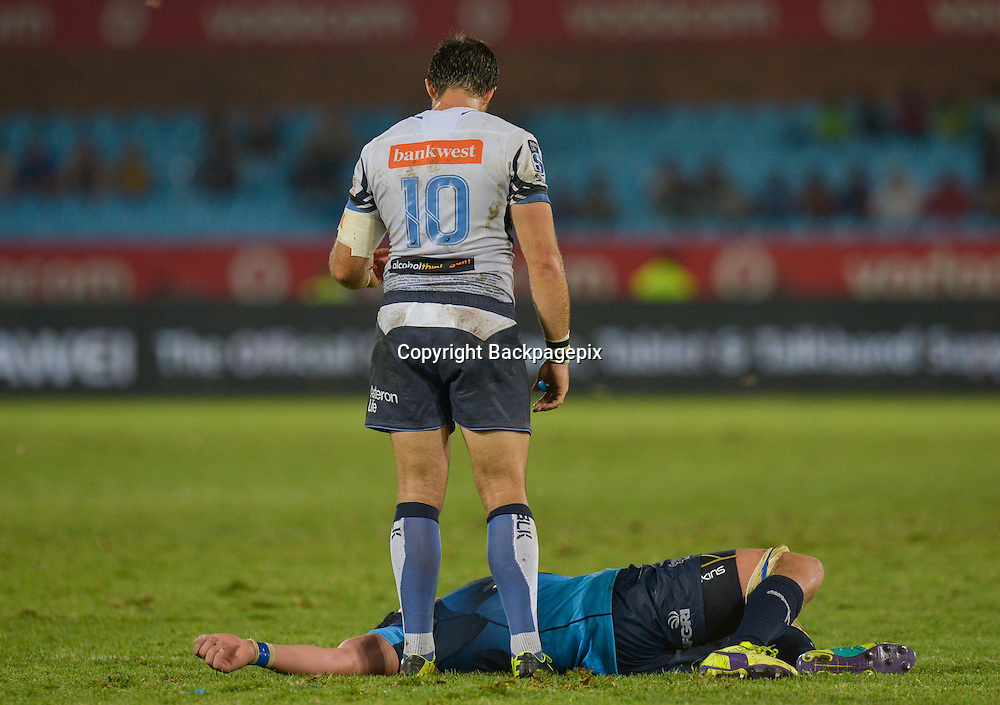Sias Ebersohn of the Force checking on Lappies Labuschagn&eacute; of the Bulls during the Super Rugby match between the Vodacom Bulls and the Force at the Loftus Versfeld on  21 March 2015<br /> &copy;BackpagePix