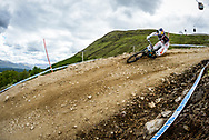 Loic Bruni of Specialized Gravity rides the rails of the Fort William downhill track during practise at the UCI Mountain Bike World Cup.