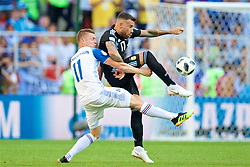 MOSCOW, RUSSIA - Saturday, June 16, 2018: Iceland's Alfred Finnbogason and Argentina's Nicolas Otamendi during the FIFA World Cup Russia 2018 Group D match between Argentina and Iceland at the Spartak Stadium. (Pic by David Rawcliffe/Propaganda)
