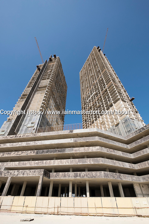 Modern high-rise residential and office building under construction at future City of Lights on Al Reem Island in Abu Dhabi United Arab Emirates