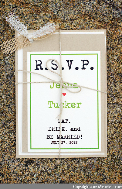 RSVP card and twine from Jenna and Tucker's coastal Maine wedding. Photography by Maine Wedding Photographer Michelle Turner.