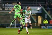 Forest Green Rovers Chris Clements(22) heads the ball during the EFL Sky Bet League 2 match between Yeovil Town and Forest Green Rovers at Huish Park, Yeovil, England on 24 April 2018. Picture by Shane Healey.