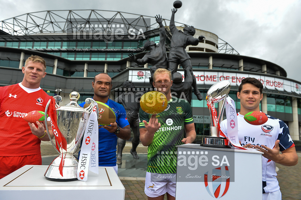 LONDON, ENGLAND - MAY 18: John Moonlight (Canada), Faalemiga Selesele (Samoa), Philip Snyman (South Africa) and Madison Hughes (USA) during the HSBC London Sevens Captains Photocall session at Twickenham Stadium on May 18, 2016 in London, England. (Photo by Roger Sedres/Gallo Images)
